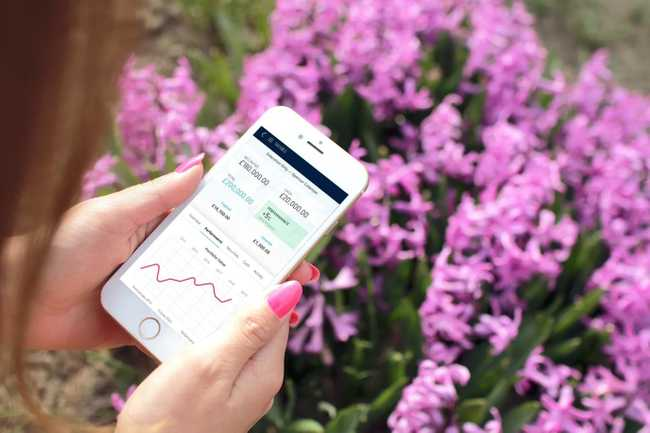 Woman holding smartphone using wealth management app with flowers in background